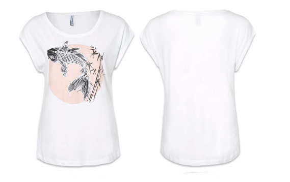 Футболка Ladies shirt,overcut shoulder+turnup,round neck + blend,pigment print